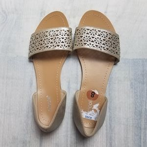 Nicole Gold Open Toe Flats